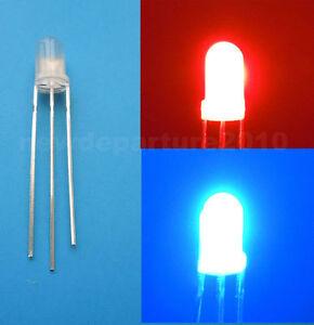 20Pcs 5mm Bi-Color Red//Blue 3 Pin LED Common Cathode