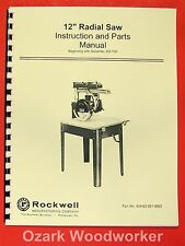 Rockwelldelta 12 Radial Arm Saw Instruction Amp Part Manual 0624
