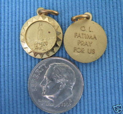 Vintage Catholic Medal Our Lady of Fatima Virgin Mary Goldplated 14mm
