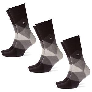 Burlington-3er-Pack-Men-039-s-Socks-Clyde-Diamond-Pattern-One-Size-3x-1-Pair