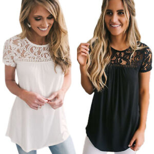 Women-Lace-Hollow-Short-Sleeve-Round-Neck-Tops-Blouse-Loose-Casual-T-Shirt-Tee