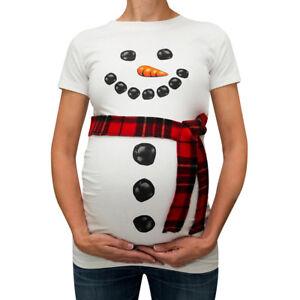 4ba6a6e53c3 Christmas Pregnancy Women Snow Man Print Maternity T-Shirt Costumes ...