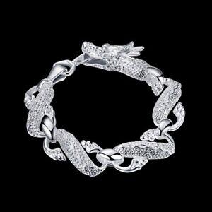 ASAMO-Drachen-Armband-925-Sterling-Silber-plattiert-Schmuck-Drache-Damen-Herren