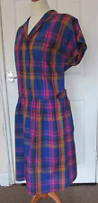 "Vintage 80's ""Sun Club"" Bright Madras Check Cotton Drop Waist Dress ~ UK 16/18"