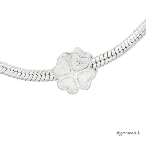 1PC Sterling Silver Clover Charm Bead for European Bracelet 10mm #94424
