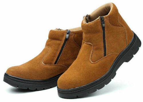Mens Steel Toe Leather Welding Ankle Boots Work Safety Smash-proof Shoes Gjxia