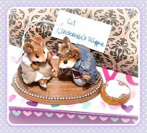 ❤️Wee Forest Folk C-1 Cinderella's Slipper with Prince RETIRED Wedding Mice❤️