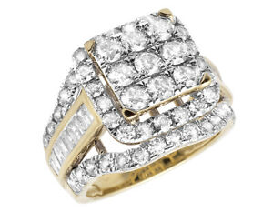 10k-Ladies-Yellow-Gold-Real-Diamonds-Square-Cluster-Wedding-Engagement-Ring-2-ct