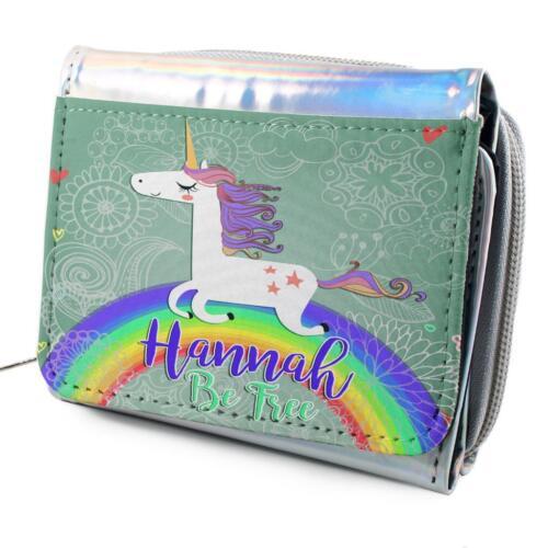 Personalised Girl Purse UNICORN RAINBOW Holographic Shiny Silver Christmas KS145
