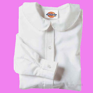 Dickies-Shirts-Girls-Peter-Pan-Collar-Blouse-Short-Long-Sleeve-School-Uniforms