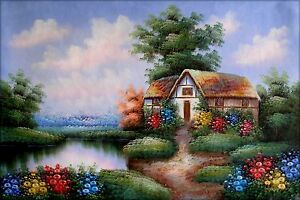 Stretched-Pond-Side-Cottage-II-Hand-Painted-Oil-Painting-24x36in