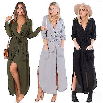 Womens Formal T-Shirt Dress Cardigan Cocktail Evening Party Maxi Long Top Blouse