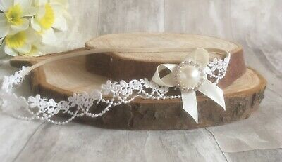 Baby Girl Ivory Cream//Off White Christening Headband Baptism Wedding Hairband