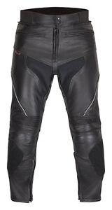 Neuf-Pantalon-en-cuir-de-moto-toutes-tailles-noir-jusqu-039-a-68