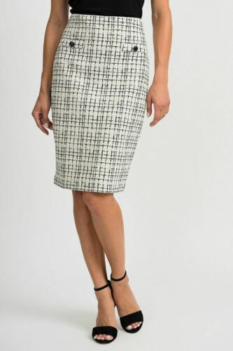 Joseph Ribkoff White//Black Crosshatch Slip-On Pencil Skirt 201526 NEW