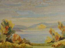 leider unsigniert - Pastell-Gemälde: BLICK VOM UFER AUF SEE UND BERGE