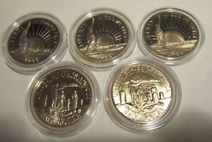 5-Coin-1986-Statue-of-Liberty-Commemorative-Half-Dollar-Proof-Coin-in-Capsules