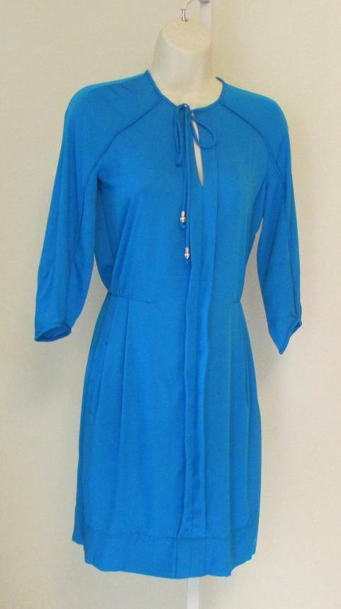 Diane von Furstenberg Apona Electric Blau dress tie shirt dress pleat 10 DVF New