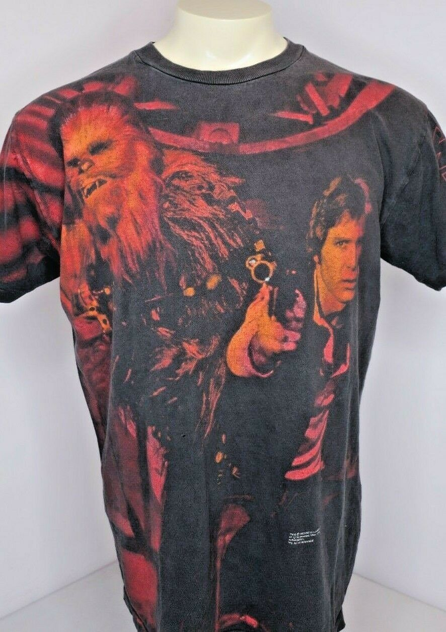 VTG 90s Star Wars Han Solo Chuy T-Shirt Movie Single Stitch Tie Dye Sz L USA
