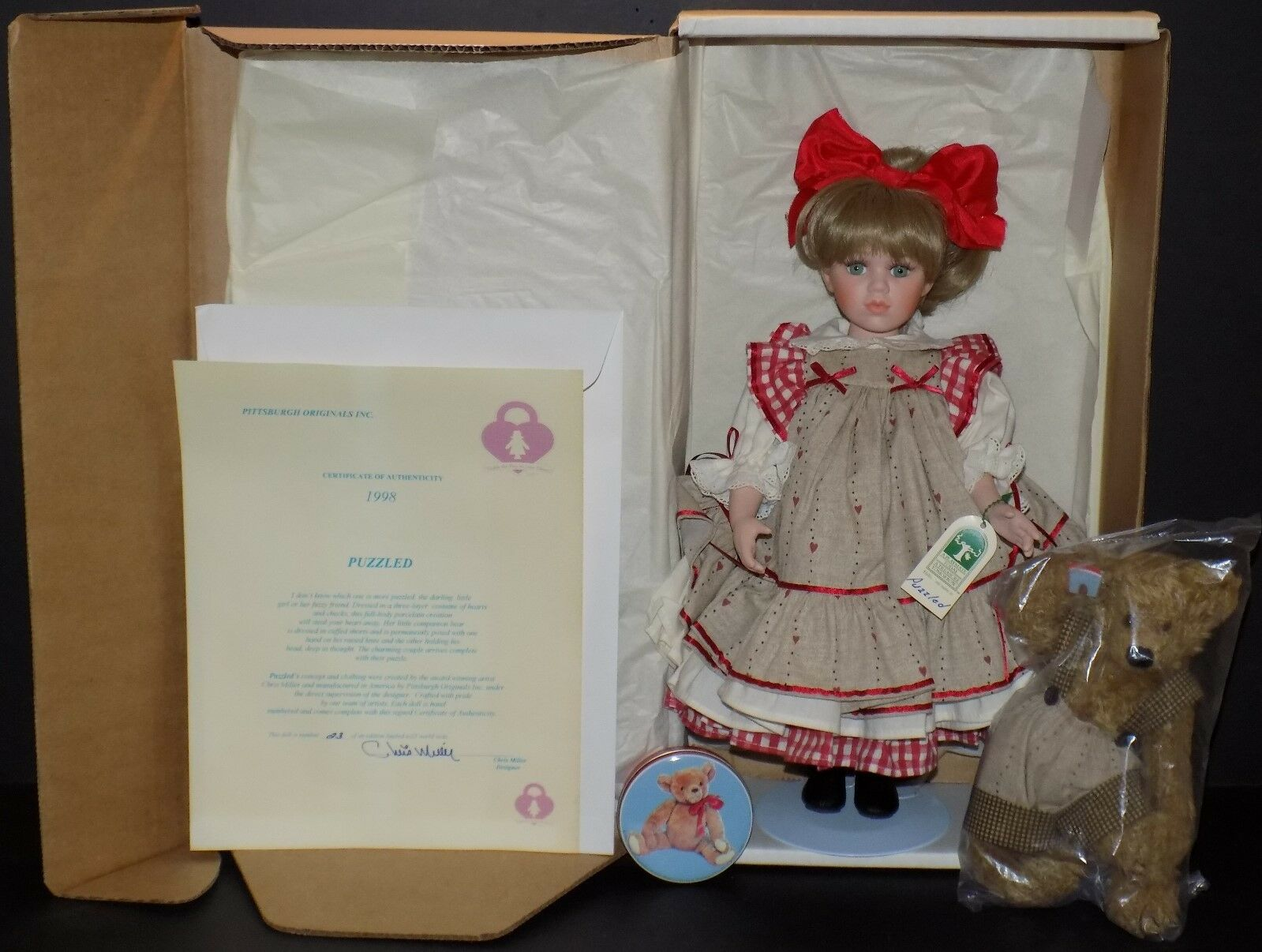 Fashion, Character, Play Dolls Ashton Drake Porcelain Doll The Tin Man Wizard Of Oz Collection 1994 Nib Pure White And Translucent Generous Rare