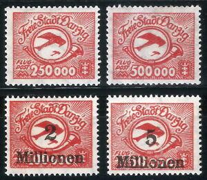 DR-Danzig-Rare-WW1-Stamp-1923-Airmail-Overprint-Aircraft-Biplan-Classic-Avia-Set