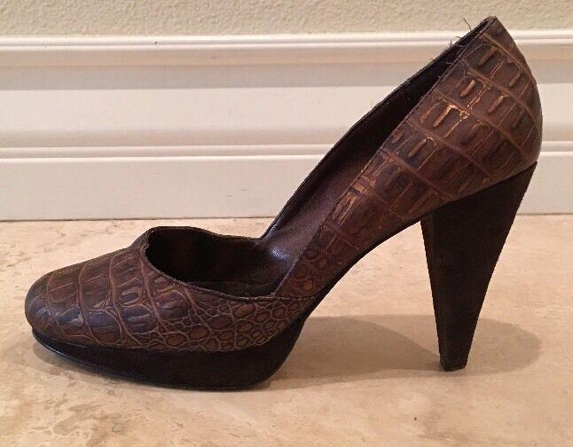 HYPE Handmade braun Copper Crocodile Leather Suede Pump Heels 6.5M  Worn 2x