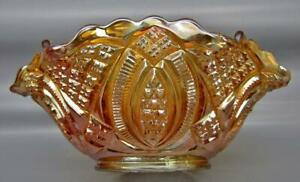 Imperial-DIAMOND-RING-Marigold-Carnival-Glass-Ruffled-9-034-Bowl-7197