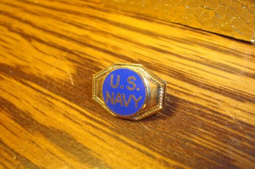 UNITED STATES NAVY Lapel Pin W//Safety Pin Back Blue Enameled Vintage U.S.Navy