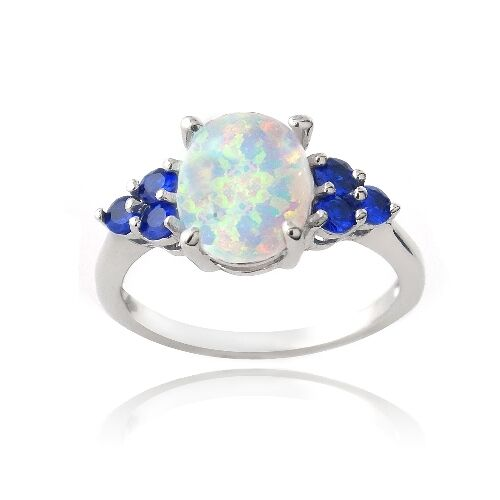 925 Silver Created White Opal & Blue Sapphire Oval Ring