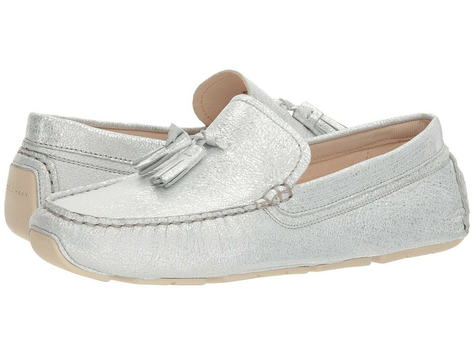 10.5M COLE HAAN HAAN HAAN RODEO TASSEL DRIVER GLITTER LEATHER WOMEN'S LOAFER SLIP ON SHOES 0b718b