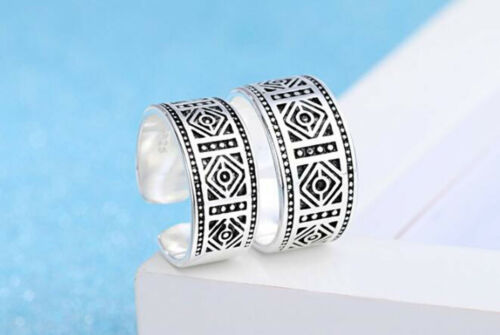 Men/'s Women Retro Jewelry Thailand 925 Sterling Silver Punk Gothic Open Rings A