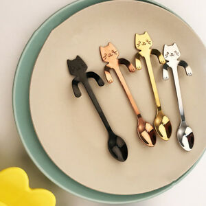 image is loading 2x stainless steel coffee tea cat spoon hanging - Kitchen Supplies