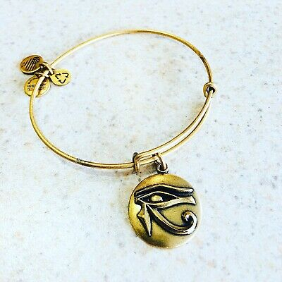 "Alex and Ani Bangle Bracelet rafaelian gold Tone /""Eye Of Horus/"" Retired"