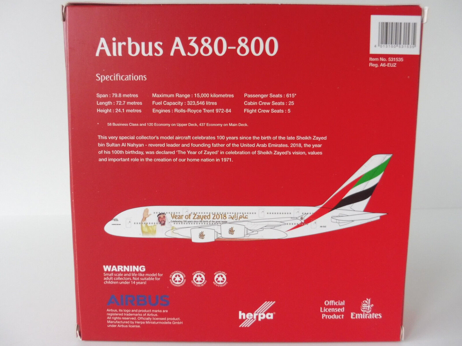 Emirates Airbus Airbus Airbus A380-800 Year Of Zayed 2018 1 500 Herpa 531535 a 380 A380 a7206e