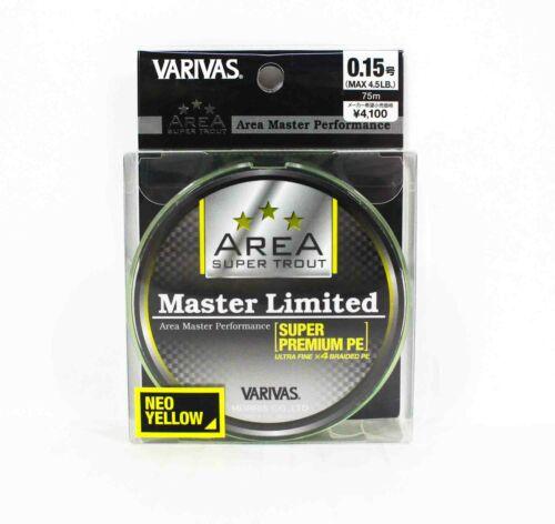 4957 Varivas P.E Linie Trout Area Master Limited 75m Yellow P.E 0.15 4.5lb