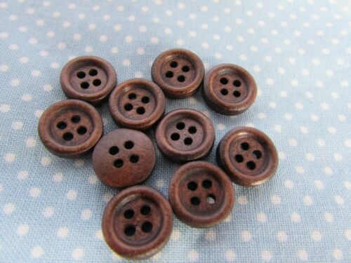 5 y 10 12mm Botones de Madera Color Café Oscuro 4 agujero y labio en envases de 2