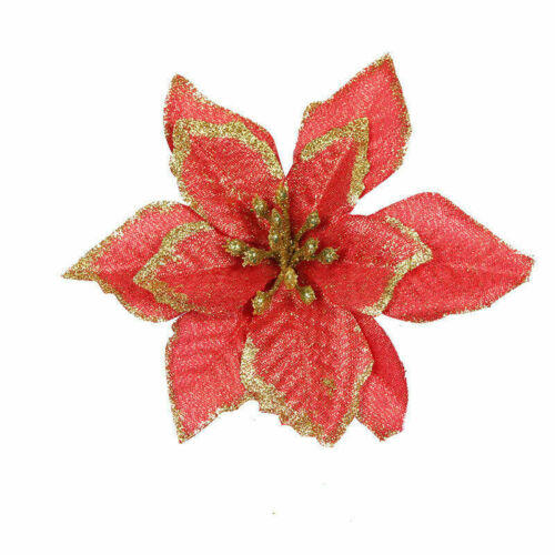 10pcs Glitter Artificial Flowers Decor for Home Christmas Wreath Tree Ornaments