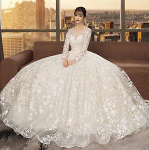 Details about Appliques Arabic Wedding Dresses Ball Gown Long Sleeve Plus  Size Bridal Gown