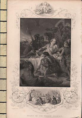 c1830 GEORGIAN PRINT ~ DEATH OF SIR PHILIP SIDNEY ~ INSET QUEEN ELIZABETH