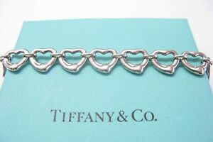 9c81c1096 Fine Tiffany & Co Elsa Peretti Open Heart Bracelet Sterling Silver ...
