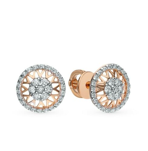 New Russian Solid 14k 585 Rose Gold   Earrings