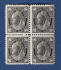 Canada stamps #66 1/2c black Queen Victoria Maple Leaf Issue bk of 4 F/VFmnh