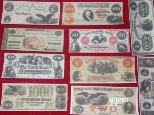 MASS 1.NICE VERY RARE COLLECTION OF 10 COPIES OF U.S OBSOLETE BANKNOTES!