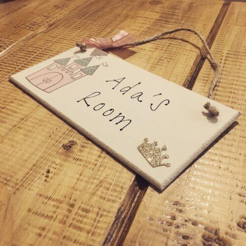 Personalised Name Plaque Door Nursery Bedroom Sign Gift Girl Princess Castle Roo