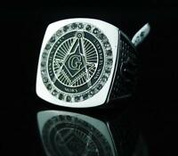 Item Stainless Steel Free Mason Ring With Hq Cubic Zirconia Silver Tone