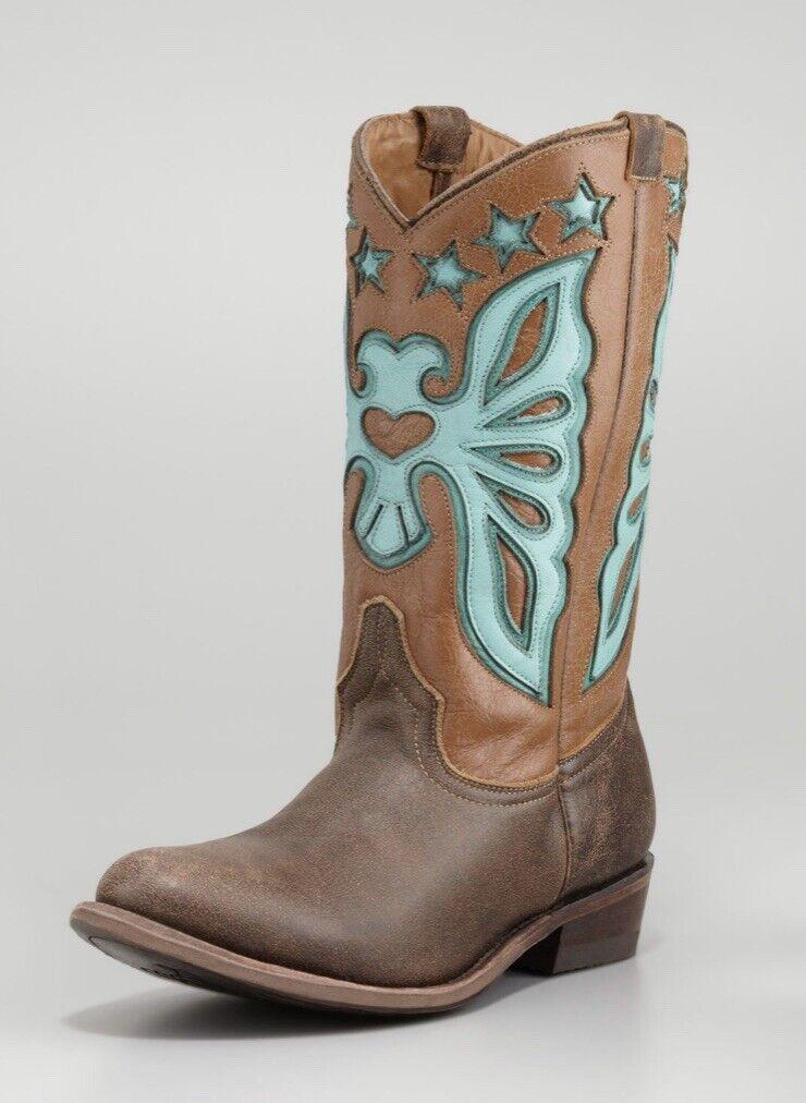 Ash Jango Papillon Bottes Cowboy Marron Foncé céladon SZ 40