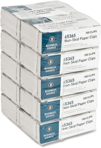 Business Source 65365 Regular Nonskid Silver Paper Clips 10 Boxes In A Case