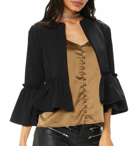 Women Ruffle Frill Ladies Bell Sleeve Open Front Coat Blazer Peplum Crop Jackets