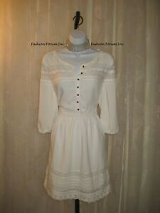 NWT-FOREVER-21-White-Lace-Trim-Dress-Size-S