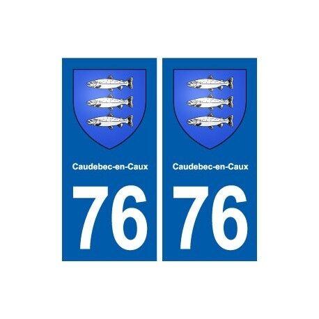 76 Caudebec-en-Caux blason autocollant plaque stickers ville -  Angles : droits